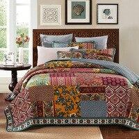 CHAUSUB Handmade Patchwork Bedspread Quilt Set 3pcs Vintage Print Cotton Coverlets Quilts Pillowcase King Queen Size Blanket