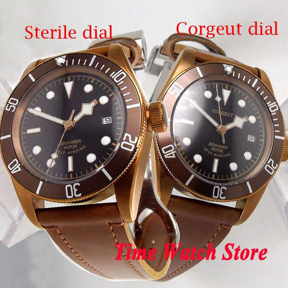 CORGEUT 41mm men s watch black dial sapphire glass copper coated case Automatic wrist watch men