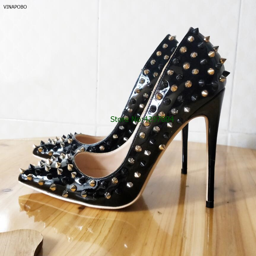 gold Rivets Studded Pointed Toe Women Pump Hot Sale Sexy Black High Heels Thin Stiletto Spikes Women wedding Shoes Free Shipping basic pump