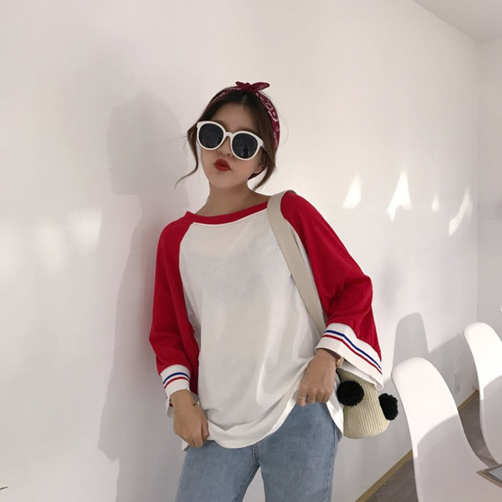 high street style loose  neck women  shirts long sleeve dolman patchwork medium length tops