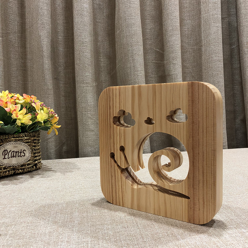 Creative Snails 3D Wooden Lamp Warm White LED USB Night Light Home Decoration Children Birthday Holiday Christmas Gift W3D-19 icoco usb rechargeable led magnetic foldable wooden book lamp night light desk lamp for christmas gift home decor s m l size