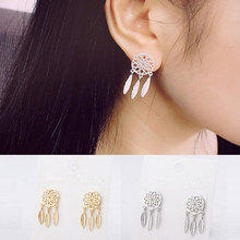 New Fashion Bohemia Nationality Indian Feather Dream Catcher Dreamcatcher Drop Earrings For Women Jewelry dreamcatcher design feather drop earrings