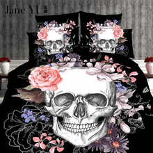 3D Skull 4pcs Bedding sets Plaid Duvet Covers for King Size Bed Europe Style Sugar Pink Flower Cover