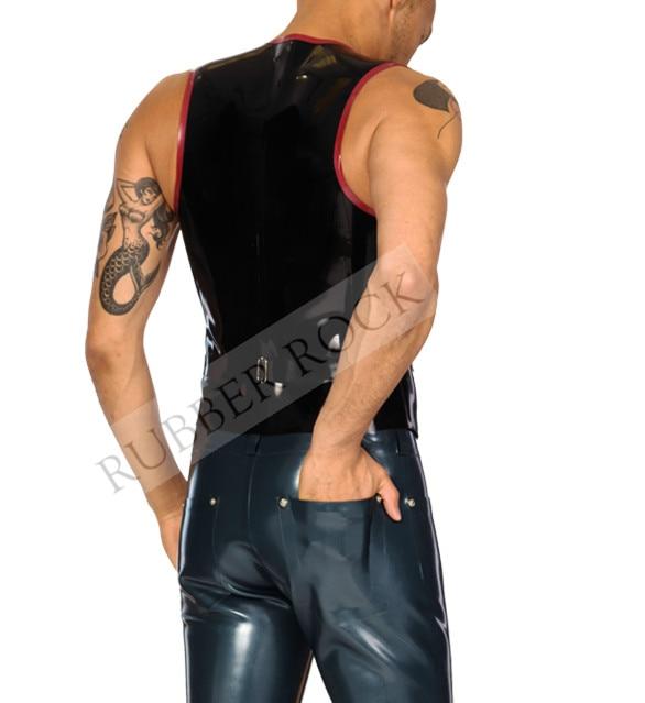 Латексный жилет черного цвета с красными Элегантный жилет пальто латексная приклеены Сексуальные костюмы для сна для Для мужчин