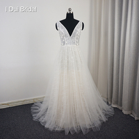 V Neck Flower Beaded Wedding Dress Luxury Beaded Lace Bridal Gown New Arrival