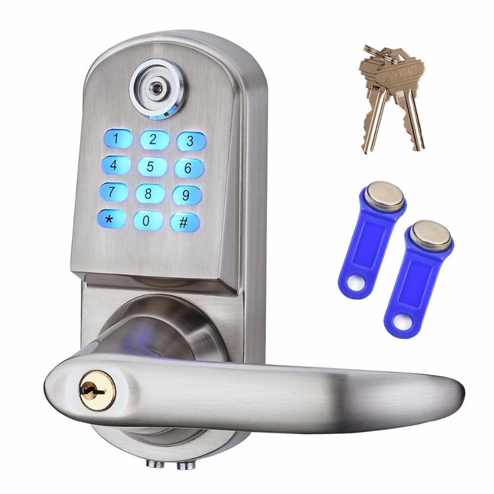 Smart Electronic Keyless Deadbolt Door Lock Unlock with Code + TM Card and Mechanical Key Right or Left Hand F1406D digital smart door lock electronic touchscreen numeric keypad deadbolt door lock unlock with m1 card code or mechanical key