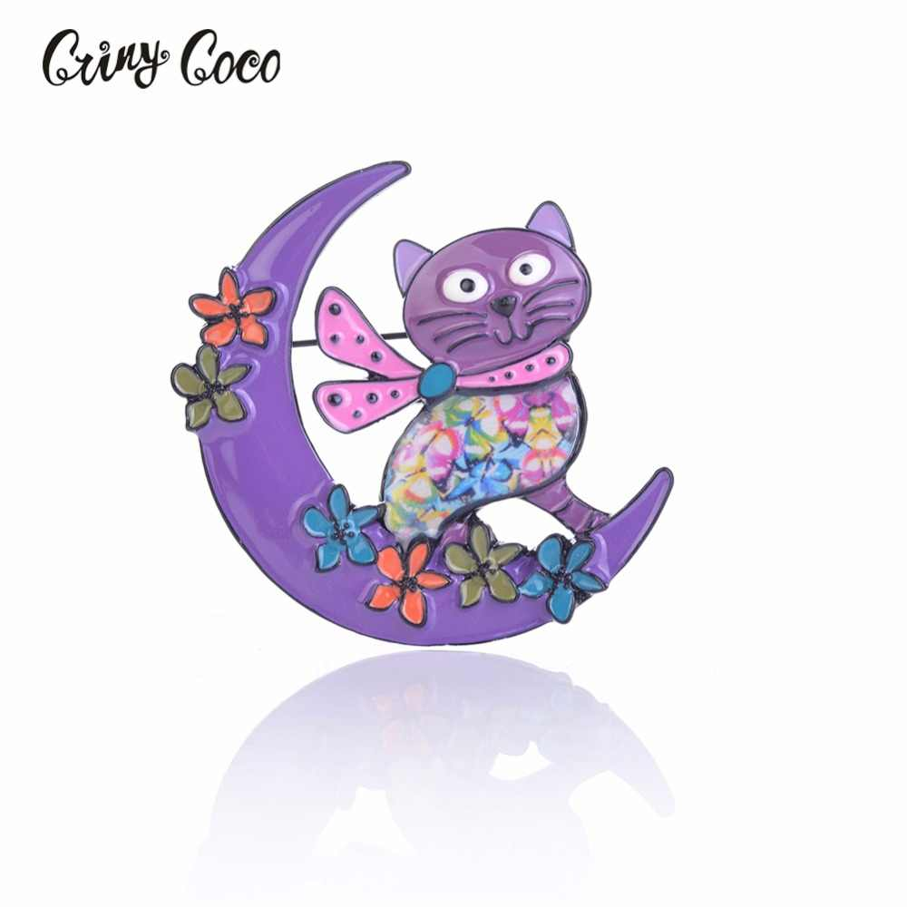 Cring CoCo Cartoon Cute Metal Enamel Funny Cat Brooch Pin For Women Fashion Clothing Bag Hat Badge Brooches Pins jewelry