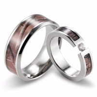 SHARDON Couple's Realtree Camo Engagement Wedding Ring Set Titanium Tension Setting CZ Engagement Ring Wedding Band 2pcs
