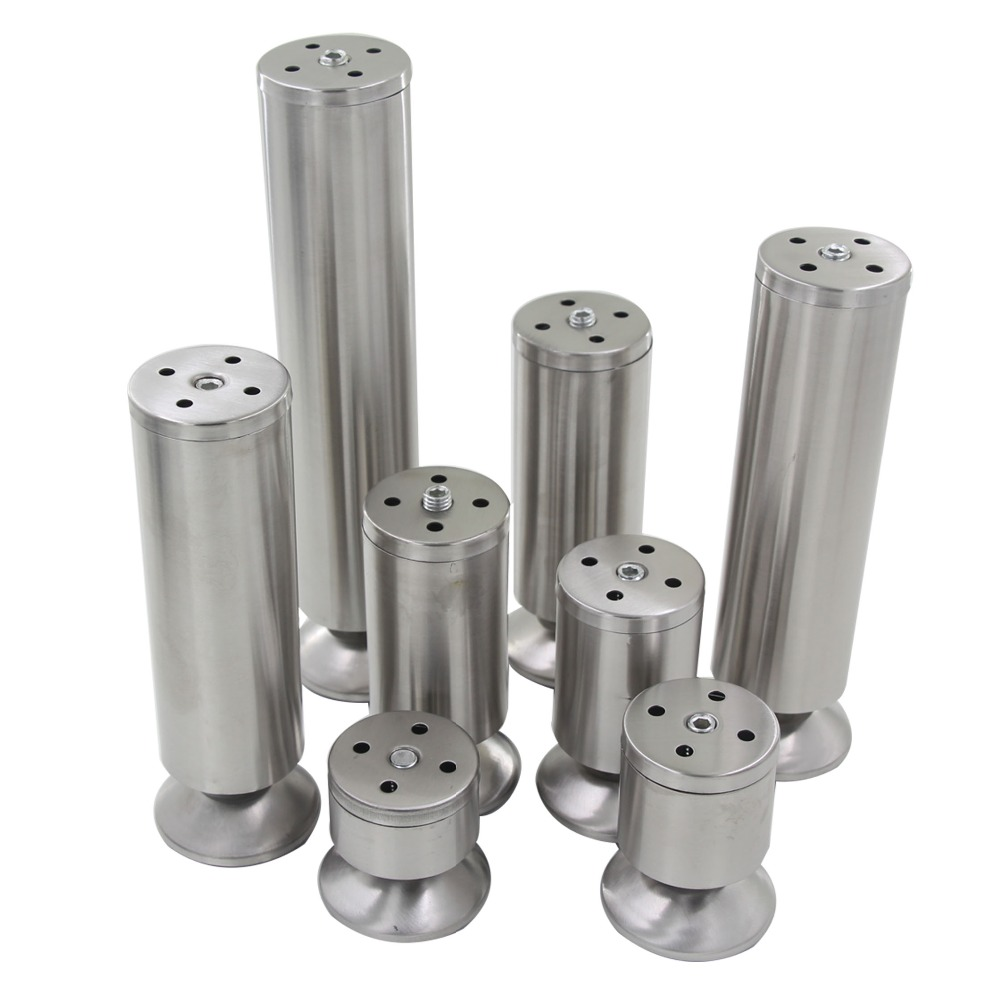 4pcs 60mm-250mm Height Adjustable 10-15mm Cabinet Feet Silver Tone Stainless Steel Table Bed Sofa Leveling Foot Furniture Legs 4pcs 150mm height furniture legs adjustable 10 15mm cabinet feet silver tone stainless steel leveling feet for table bed sofa