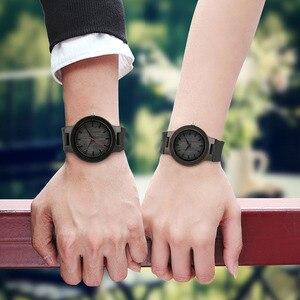 Image 5 - Minimalist sandal ağacı saat çift marka tasarım siyah gerçek deri kırmızı/siyah İkinci el kuvars bilezik sevgiliye hediye