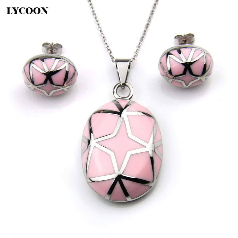 LYCOON newest <font><b>stainless</b></font> <font><b>steel</b></font> stars style oval pink resin pendant necklace enamel oval earrings <font><b>jewelry</b></font> <font><b>set</b></font> <font><b>for</b></font> <font><b>women</b></font> LYS012 image
