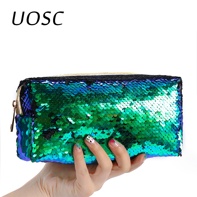 UOSC Sequins Glitter Cosmetic Bags Double Color Sequins Handbag Cosmetic Bag Makeup Pouch Women Mermaid Party Clutch Bags