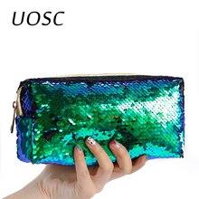 UOSC – sacs à cosmétiques à paillettes, sac à main à paillettes Double couleur, pochette de maquillage pour femmes, pochette de fête sirène