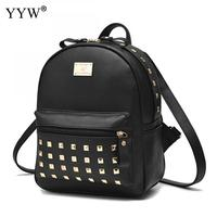 Black PU Leather Backpack with Rivet Female Mini Backpacks for Women and Adolescent Girls 2018 New Travel School Bag 4 Clolors
