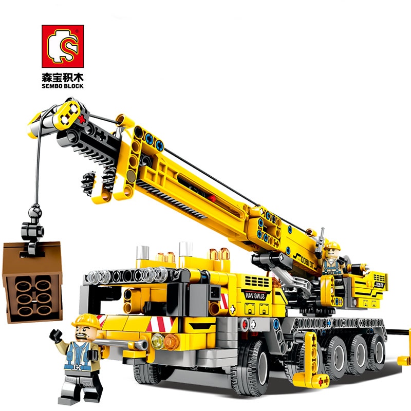 Sales Promotion Sembo Diamon Blocks Crane Mechanical Password Technic Voiture  Building Brick Educational Toy Gift
