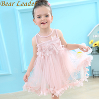 Bear Leder Girls Dress 2017 Brand Flowers Ball Gown For Girls Summer Sleeveless Appliques Solid Cute