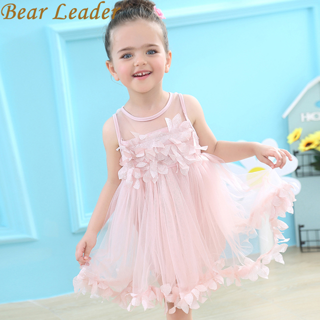 Bear Leder Girls Dress 2018 Brand Flowers Ball Gown for Girls Summer Sleeveless Appliques Solid Cute Dress for Princess Dress