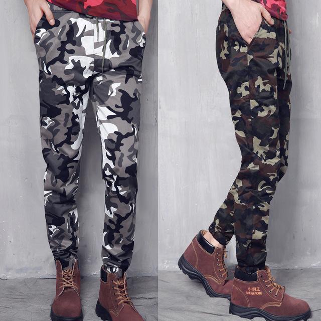 Cordón de la alta Calidad Para Hombre del Diseñador Pantalones Rectos Holgados Pantalones Para Hombre Casual Army Military Camo Cargo Combat D053
