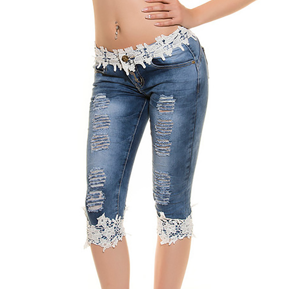 Europe And The United States Women Sexy Hollow Lace Jeans S-XL Sizes Cowboy Trousers Lace Middle Jeans Female W3804 hanlu europe and the united states women s super elastic lace lvkong denim trousers fashion comfortable feet pants