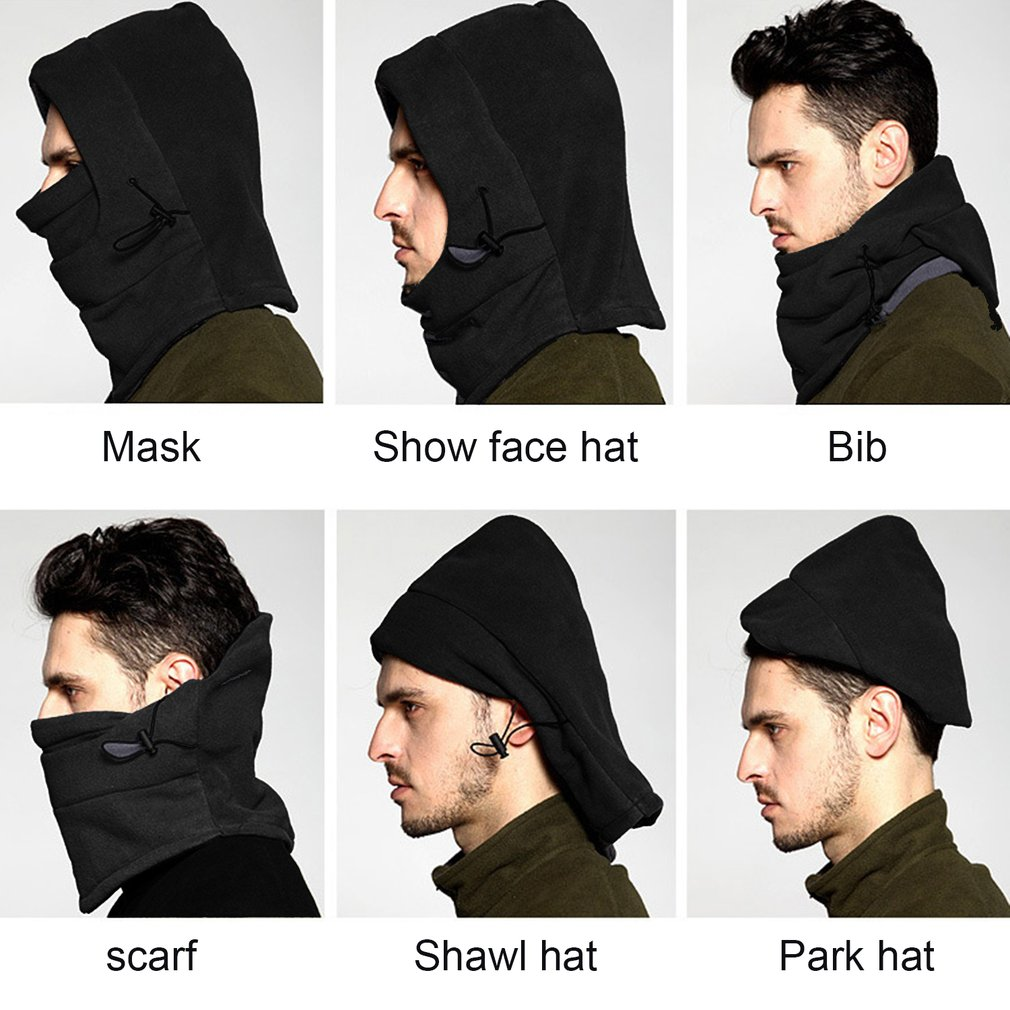 TSAI Winter Warm Fleece Full Face Cycling Mask Windproof Double Layer Riding Hat Multifunction Outdoor Sport Cap For Men & Women jaisati winter outdoor riding windproof cap fleece hood cs hat mask thick warm snow cap dust mask