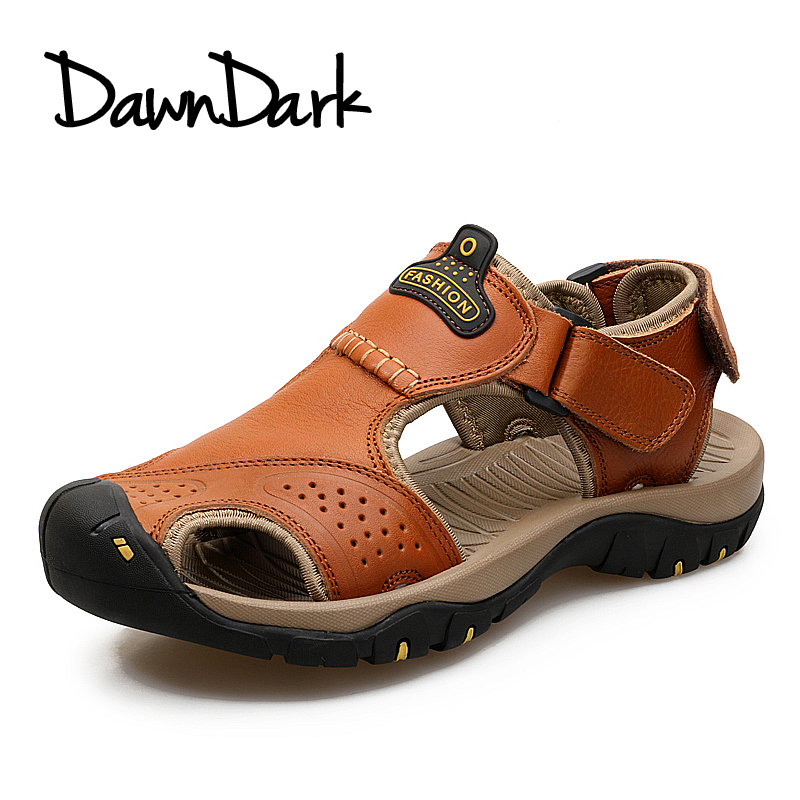 Mens Sandals Spring Summer Male Split Leather Shoes Outdoor Brown Slip on New Beach Men Casual Shoes Plus Size