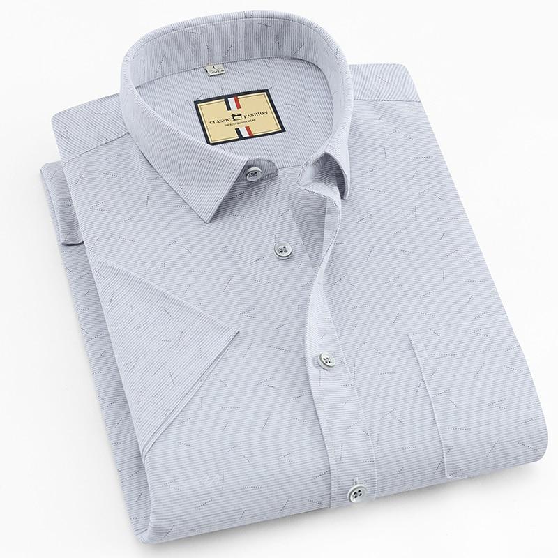 Men's Print Casual Checkered Standard-fit Shirt Premium Summer Thin Soft Short-Sleeve Buttoned-up Shirts