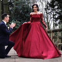 Elegant 2019 Long Sleeves Lace Evening Dresses Bateau Neck Ruched Satin A Line Prom Dress Zipper Back Formal Gowns