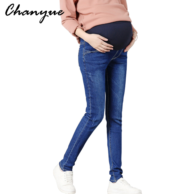 Chanyue Maternity Pants Pregnant Women Jeans Slim Pants Spring Autumn Fashion maternity clothes Mom denim Trousers