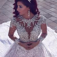 Vestido De Noiva Luxurious Wedding Dress Long Sleeves 2018 Ball Gown Beading Dubai Arabic Muslim Wedding Gowns Bridal Dresses