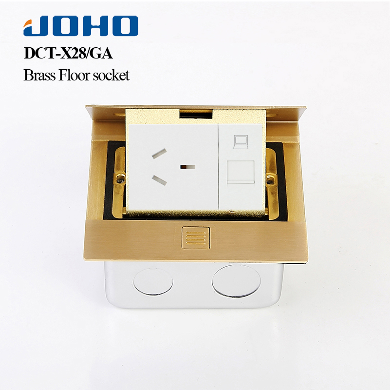 Smart Home EU standard Power Socket Brass Panel floor table plug computer electrical pop socket kitchen rj45 outlet with usb
