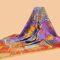 "Huajun || Classic color brand scarf ""Cavaliers du Caucase"" 140 large square 100% silk twill silk scarf printing shawl"
