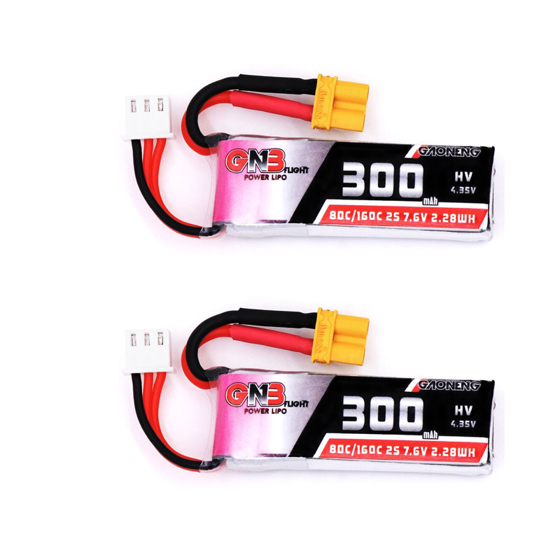 2PCS Gaoneng GNB 300mah 7.6V 80C/160C HV Lipo battery with XT30 Plug for BETAFPV Beta75X 2S Beta65X 2S Whoop DronesParts & Accessories   -