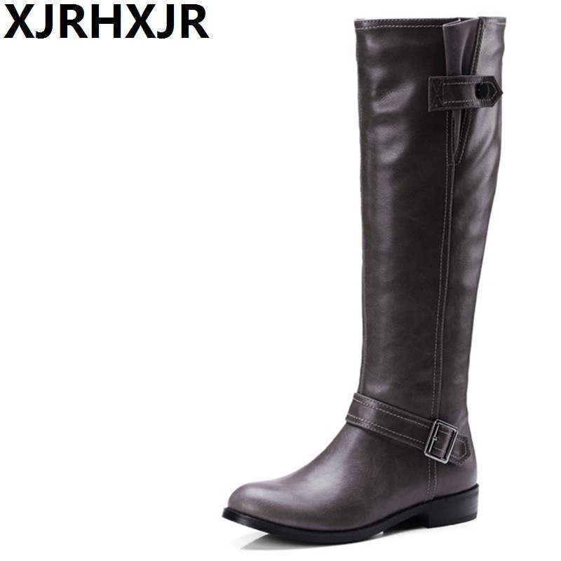 XJRHXJR Fashion Winter Warm Women Knee High Boots Black Soft Leather New Female Flat Heels Boots Shoes Plus Size 34-43 xjrhxjr new red black women patent