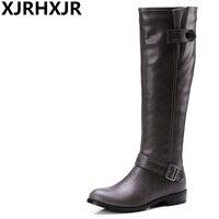 XJRHXJR Fashion Winter Warm Women Knee High Boots Black Soft Leather New Female Flat Heels Boots