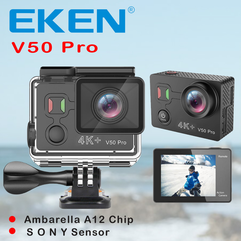 Original EKEN V50 Pro Sport Action Camera Ambarella A12 Wifi 4K 30FPS 12MP Motorcycle Camera Go 30M Waterproof Extreme Sport cam new updated original eken h8 h8r action camera ultra hd 4k 30fps wifi 2 0 extreme cam underwater waterproof sport camera