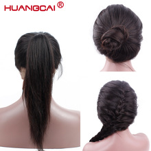 Lace Front Human Hair Parykker For Women Peruvian Parykker Remy Rett Black Hair Pre Plukket Med Natural Hairline Baby Hair Huangcai