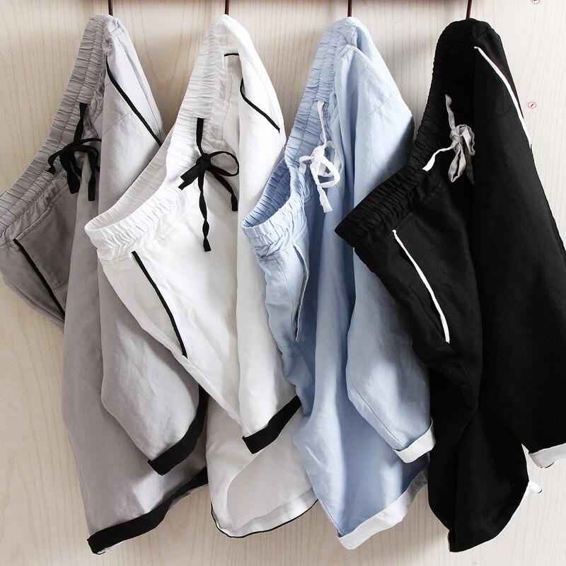 Linen Shorts Bermuda Elastic-Waist Men's Straight Beach Summer Fashion Casual Brand New