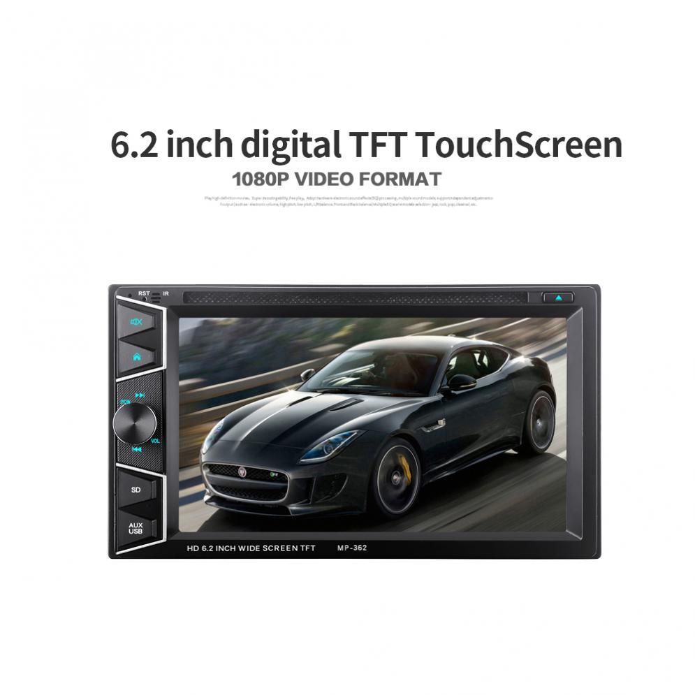 6.2 ''2 DIN Bluetooth HD écran tactile voiture dans Dash FM récepteur Radio lecteur DVD CD avec télécommande sans fil