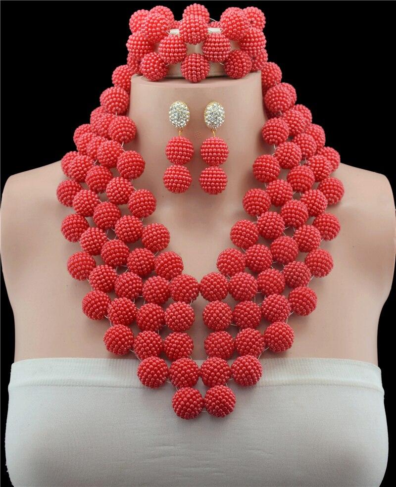 Jolie Afrian Imitation perles perles ensemble de bijoux collier de mariage de mariée Bracelet boucles d'oreilles ensemble bijoux de Costume livraison gratuite