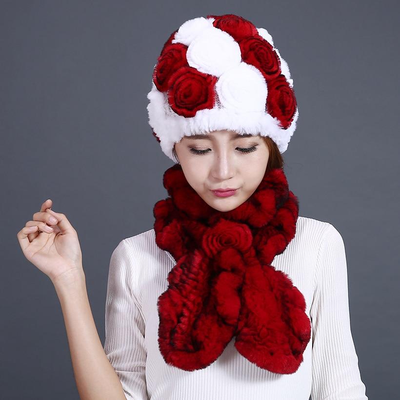 Sombreros y bufandas para mujer Piel de rex genuina Sombrero de flor - Accesorios para la ropa - foto 1