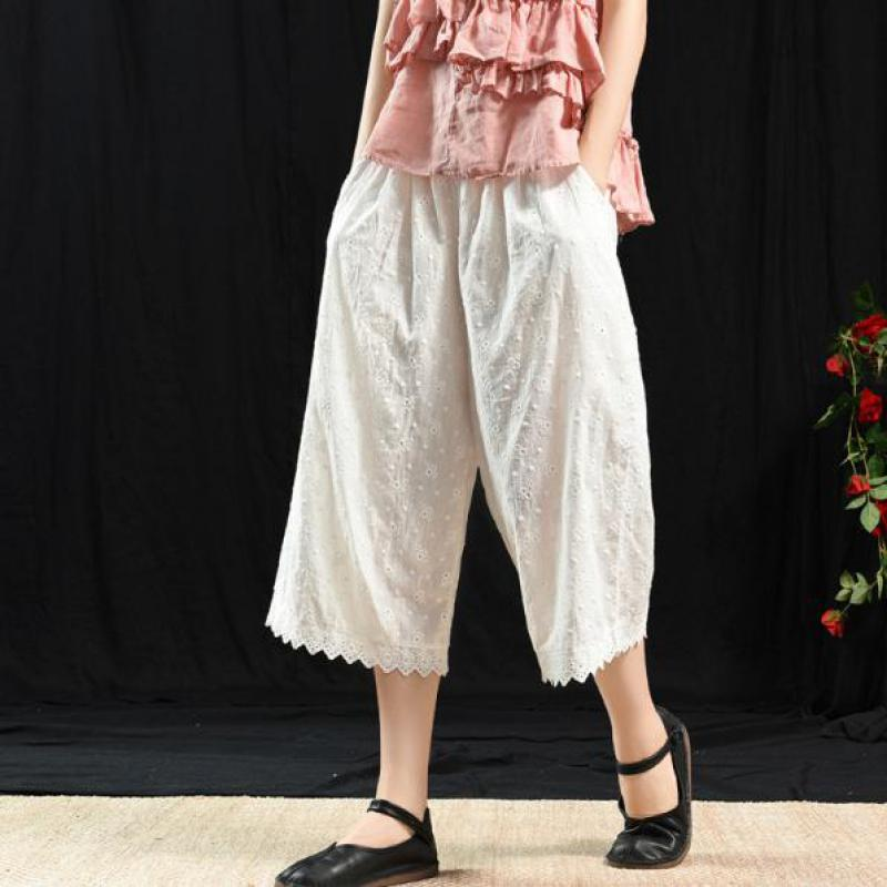Casual Calf-length Loose Elastic Waist Solid Color Wide Leg Pants Vintage Hollow 2019 New Summer Trousers Women Pants