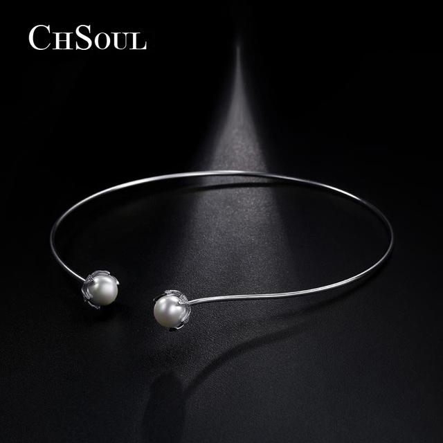 CHSOUL Nueva Marca Torques Collar Perla de Imitación Doble Pétalo de la Flor Pavimenta Simulado Perlas Gargantilla Collares Para Las Mujeres de Moda