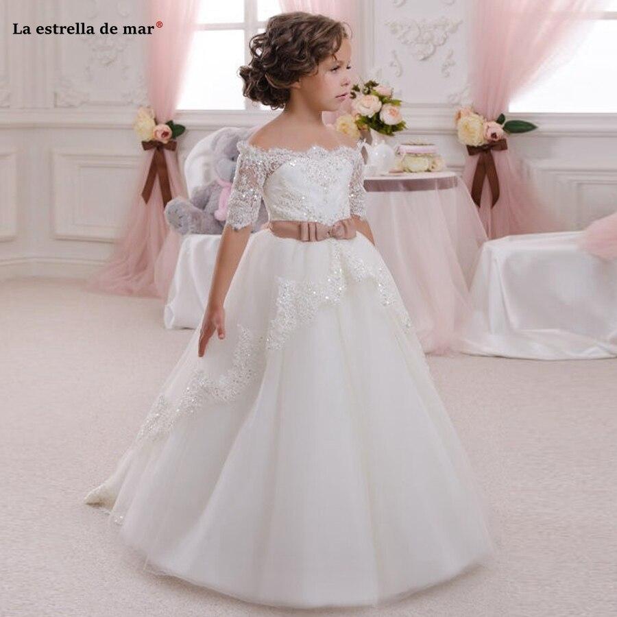 Vestido daminha de casamento menina2019 nouveau col bateau dentelle perlée demi manches une ligne ivoire robe de demoiselle d'honneur longue sainte communion