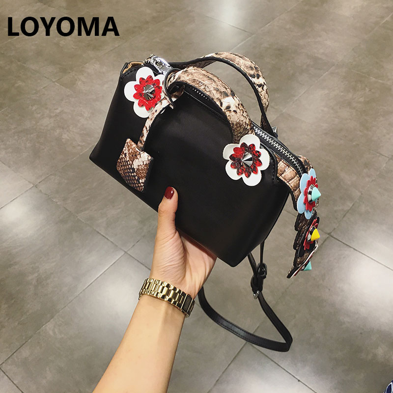 2017 Fashion Summer Women Shoulder Bags Leather High Quality Messenger Bag Boston Flowers Handbag Cross Body Bags Tote Purse sexy plunging neck sleeveless black one piece swimsuit for women