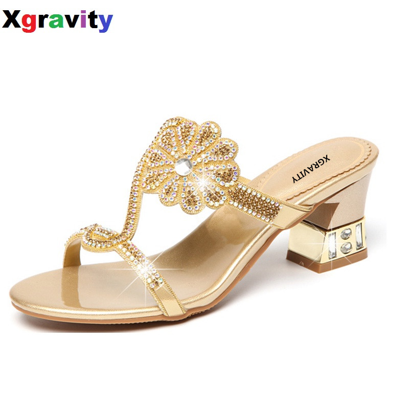 Heels Xgravity 2019 Summer Shoes New Ladies Thin Heel Pumps Sexy Crystal Rhinestone Design Women Shoes Elegant Ladies Elegant Sandals