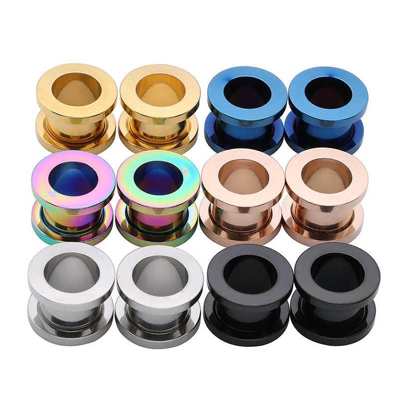 Unisex 2PC Steel auricle Ear Plugs Tunnel Flesh Earring Gauges Hollow Piercings Tunnels Expanders Rings Color Mixed Body Jewelry