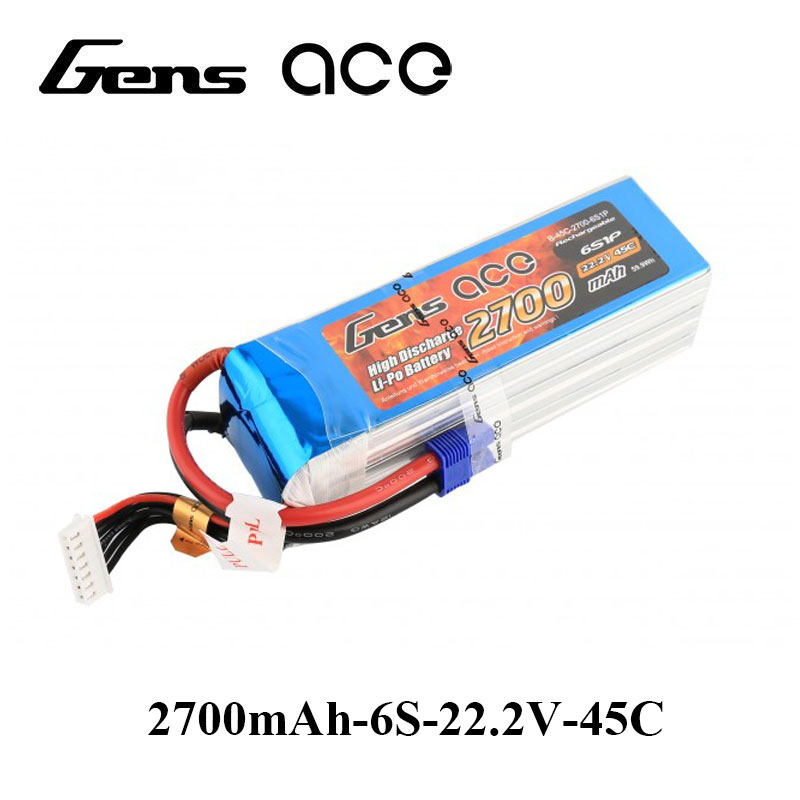 Gens ace Lipo Battery 22.2V 2700mAh Lipo 6S 45C RC Battery Pack EC3 Plug for RC Car Boat FPV Drone Helicopter RC Accessories mos rc airplane lipo battery 3s 11 1v 5200mah 40c for quadrotor rc boat rc car