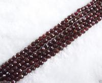 Wholesale 5 Strands 4mm Natural Faceted Red Garnet Beads 14