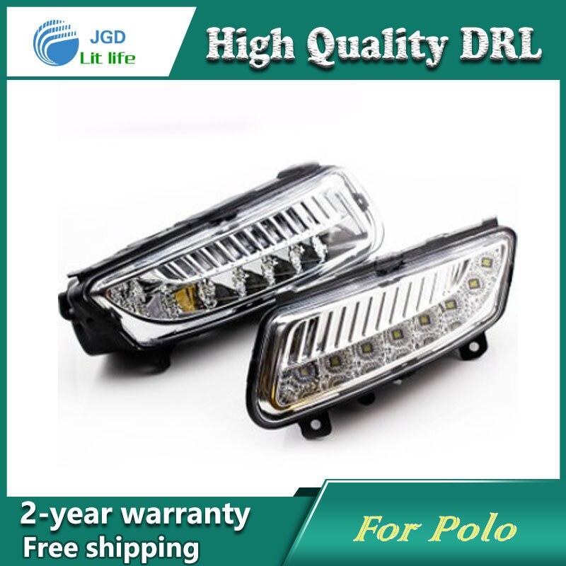 Free shipping ! 12V 6000k LED DRL Daytime running light case for VW Polo 2011-2013 Fog lamp frame Fog light Car styling