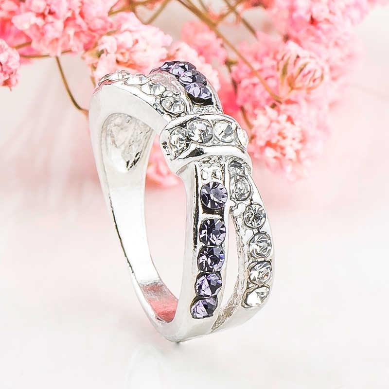 MISANANRYNE ส่งเสริมการขายราคาเงินสีม่วง CZ คริสตัล Bowknot งานแต่งงานแหวน Anel bague แหวนขนาด 6 7 8 9 10